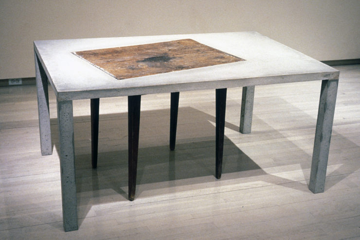 "Re/past Table (29""x59""x40"") concrete, wooden table"